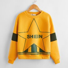 Girls Star and Letter Graphic Colorblock Pullover