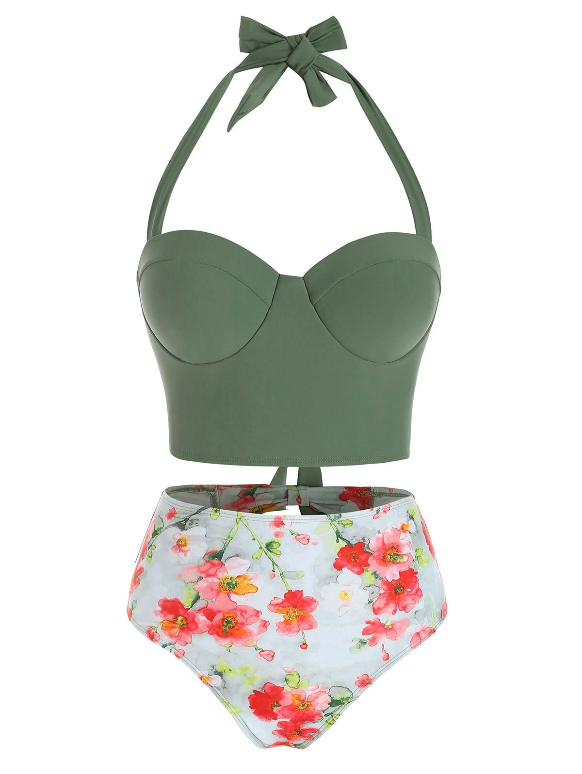 Floral Print Cutout Halter Tankini Swimsuit