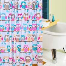Cartoon Owl Print Shower Curtain With 12hooks