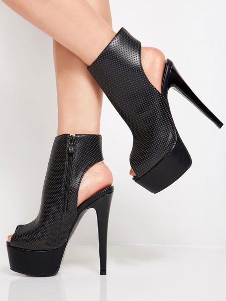 Milanoo Sexy High Heels Peek A Boo Toe Stiletto Heel Party Black Booties
