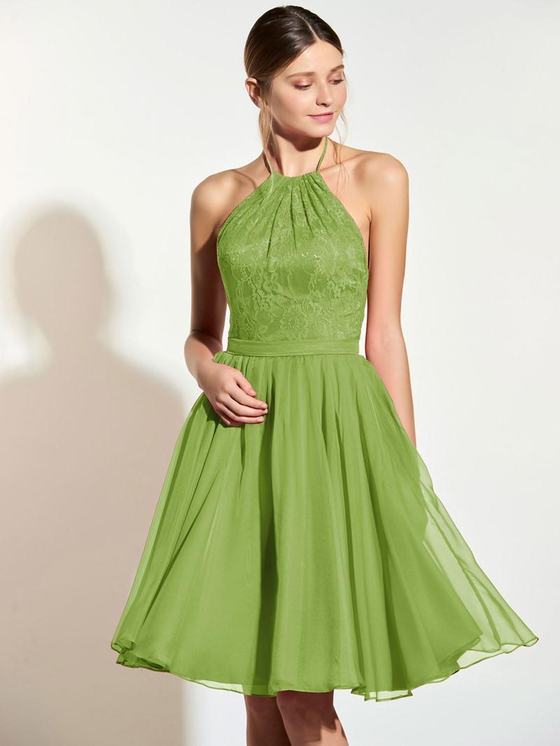 Ericdress Halter Lace A Line Knee Length Bridesmaid Dress