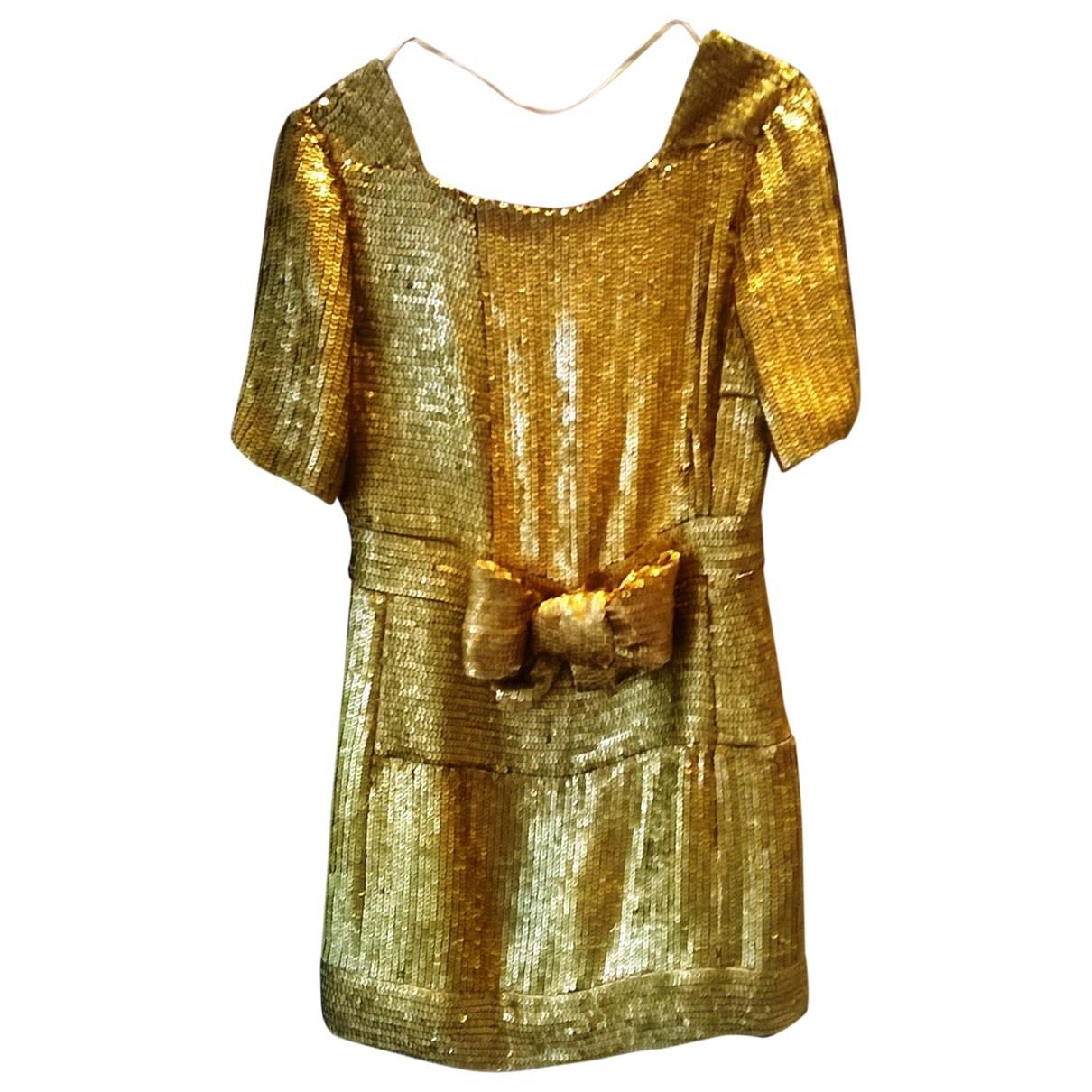 Yves Saint Laurent \N Gold Glitter dress for Women 36 FR