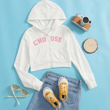 Girls Zip Up Letter Graphic Pouch Pocket Hoodie