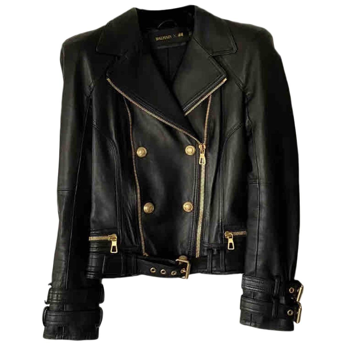Balmain For H&m - Blouson   pour femme en cuir - noir