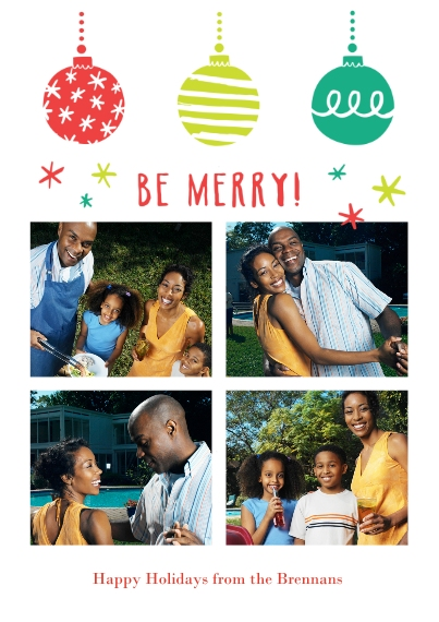 Holiday Photo Cards 5x7 Cards, Premium Cardstock 120lb with Rounded Corners, Card & Stationery -Be Merry Ornaments