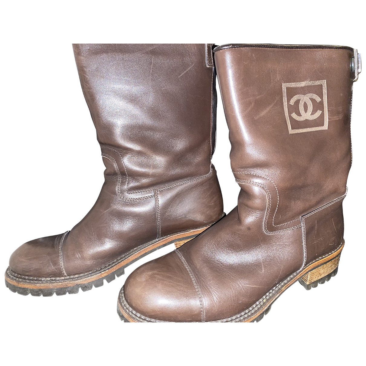 Chanel \N Stiefel in  Braun Leder