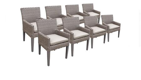 Florence Collection FLORENCE-TKC297b-DC-4x-C-BEIGE 8 Dining Chairs With Arms - Grey and Beige