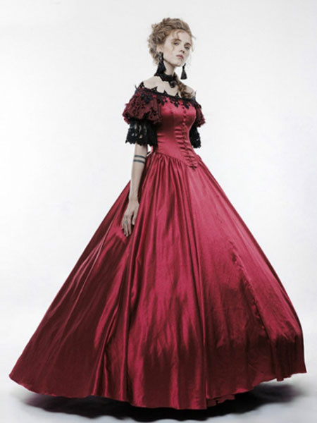 Milanoo Victorian Dress Costume Women's Black Short Sleeves Ball Gown Victorian era Style Vintage Clothing Halloween