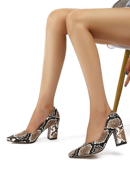 Milanoo Zapatos de tacon alto con punta abierta y estampado de serpiente con tacon grueso y elegantes zapatos de bomba verdes