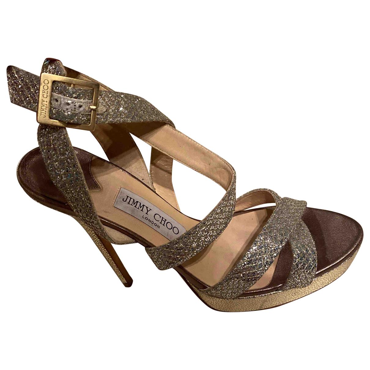 Jimmy Choo N Silver Glitter Sandals for Women 39 EU
