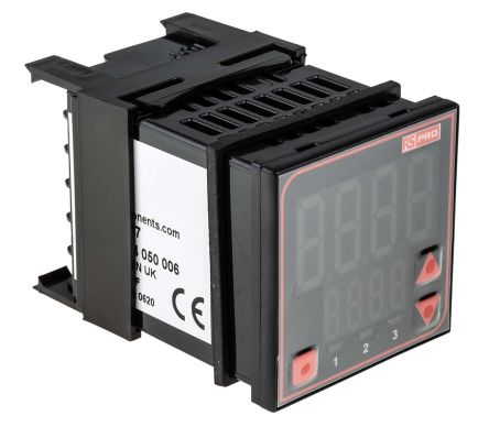 RS PRO Panel Mount PID Temperature Controller, 48 x 48mm, 3 Output Relay, SSR, 24 V ac/dc Supply Voltage