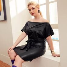 Plus Off Shoulder Tie Side PU Leather Dress