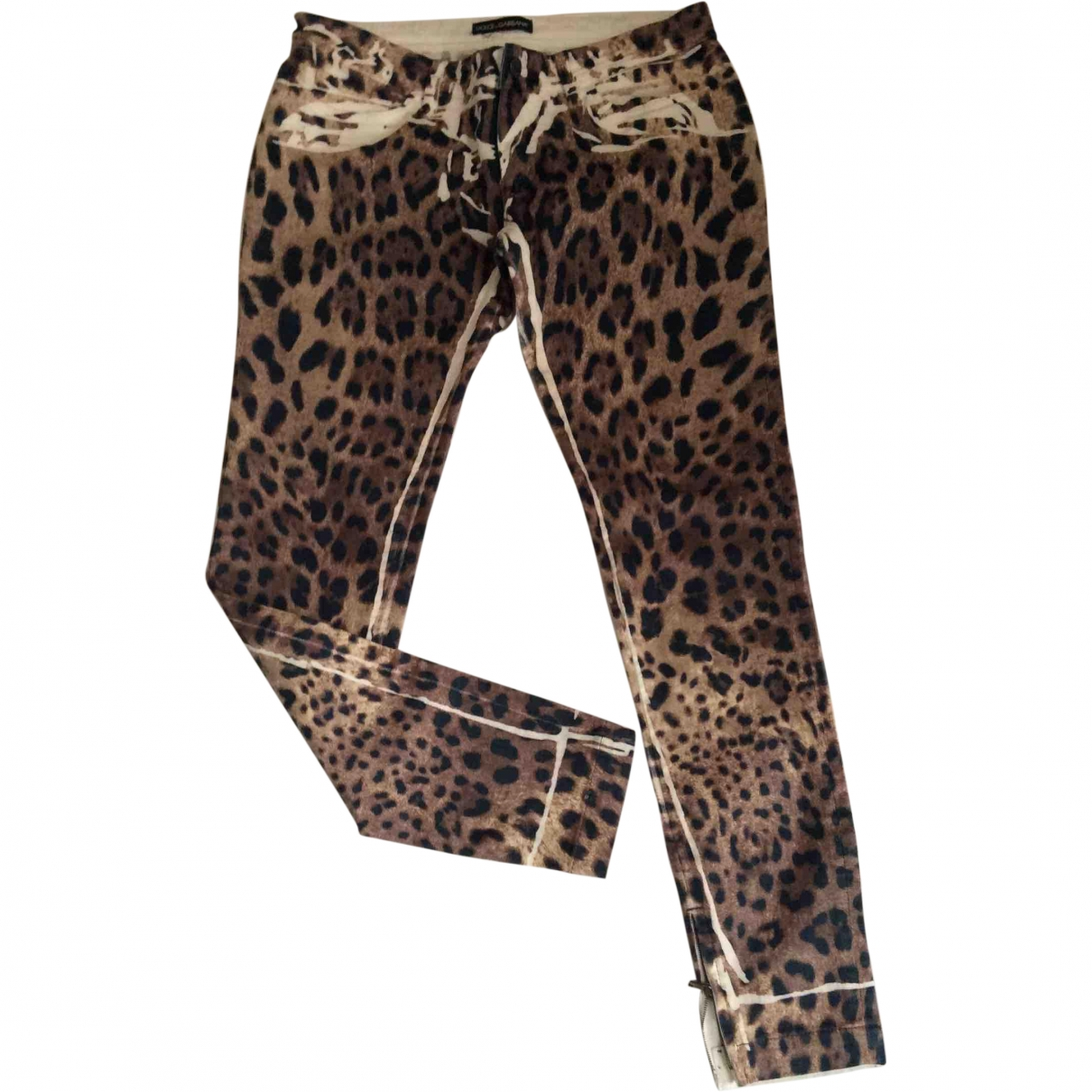 Dolce & Gabbana \N Brown Cotton Trousers for Women 42 IT