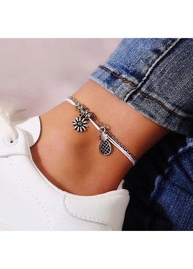 Mother's Day Gifts Sunflower Shape Layered Silver Metal Anklet - One Size