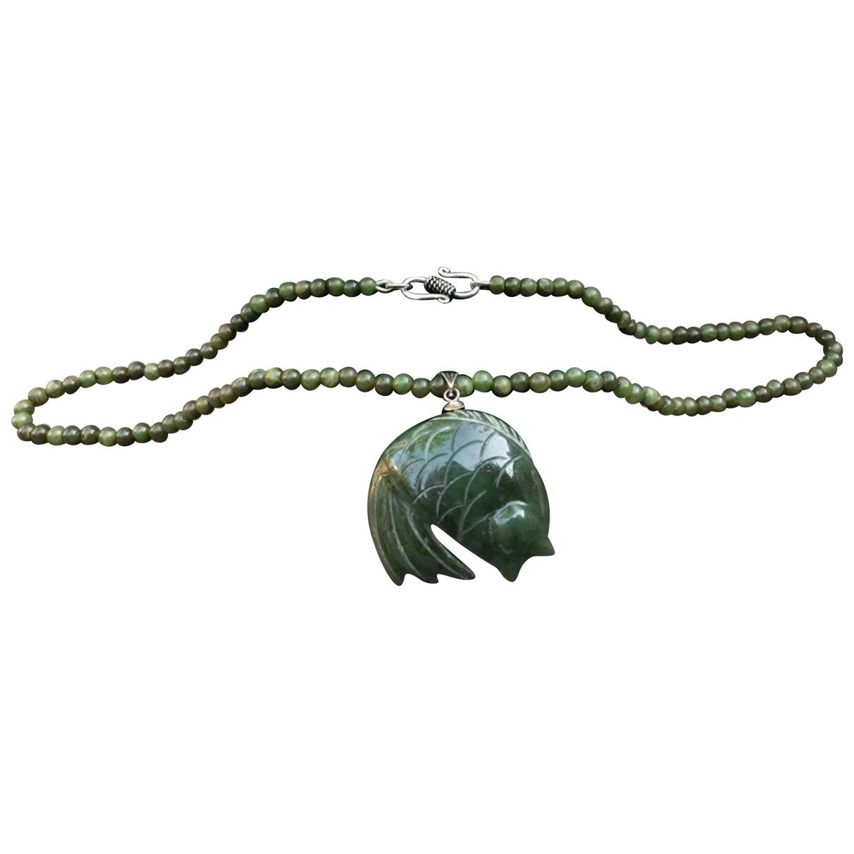 Non Signe / Unsigned Motifs Animaliers Kette in  Gruen Jade