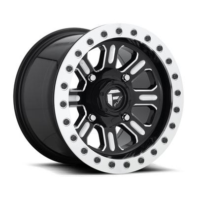 MHT Fuel Off-Road Hardline D910 Beadlock Wheel, 15x10 with 4 on 136 Bolt Pattern - Black / Milled - D9101500A664