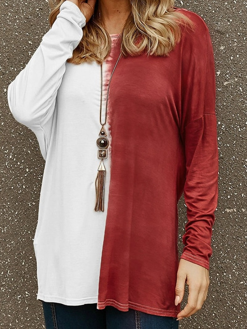 Ericdress Round Neck Color Block Mid-Length Fall Casual T-Shirt