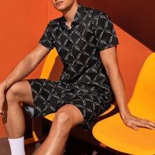 Schwarz Knopfen vorn Geometrisches Muster Laessig Maenner Zweiteilige Outfits