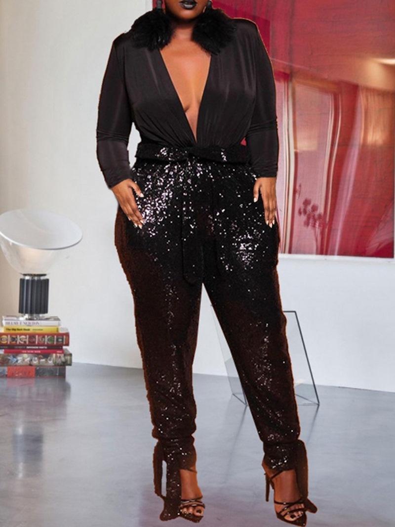 Ericdress Plus Size Full Length Plain Sequins Slim Pencil Pants Jumpsuit