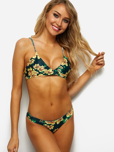 Yoins Green Tropical Print Criss-cross Back Mid-waisted Bikini Set