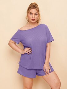 Plus Waffle Asymmetrical Neck Tee With Shorts