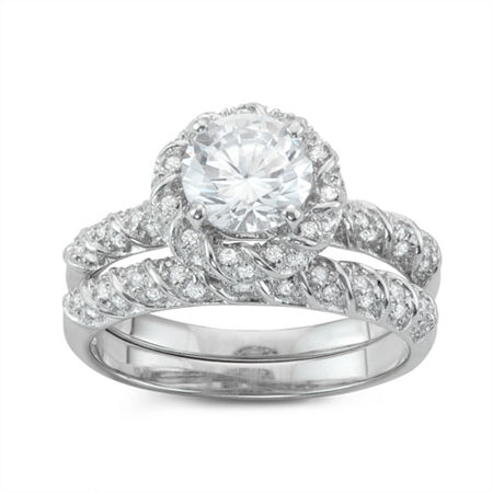Womens 1 CT. T.W. White Cubic Zirconia Sterling Silver Round Bridal Set, 10 , No Color Family