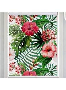 Window Decor Green Palm Leaves and Azaleas Printing Flat-Shaped Roman Shades