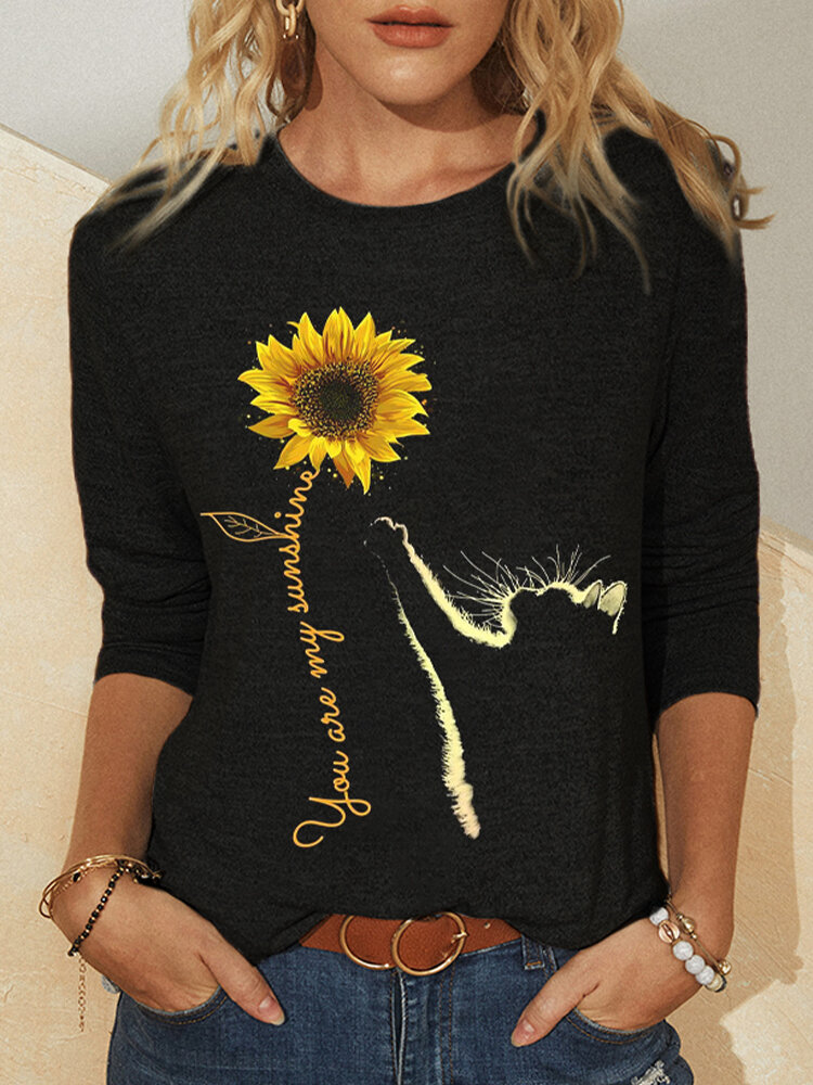 Cartoon Cat Floral Printed O-neck Casual T-shirt For Women
