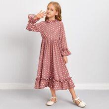 Kleid mit Schosschenaermeln, Ruesche Detail und Punkten Muster
