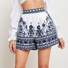 Shorts mit elastischer Taille und Blumen Muster