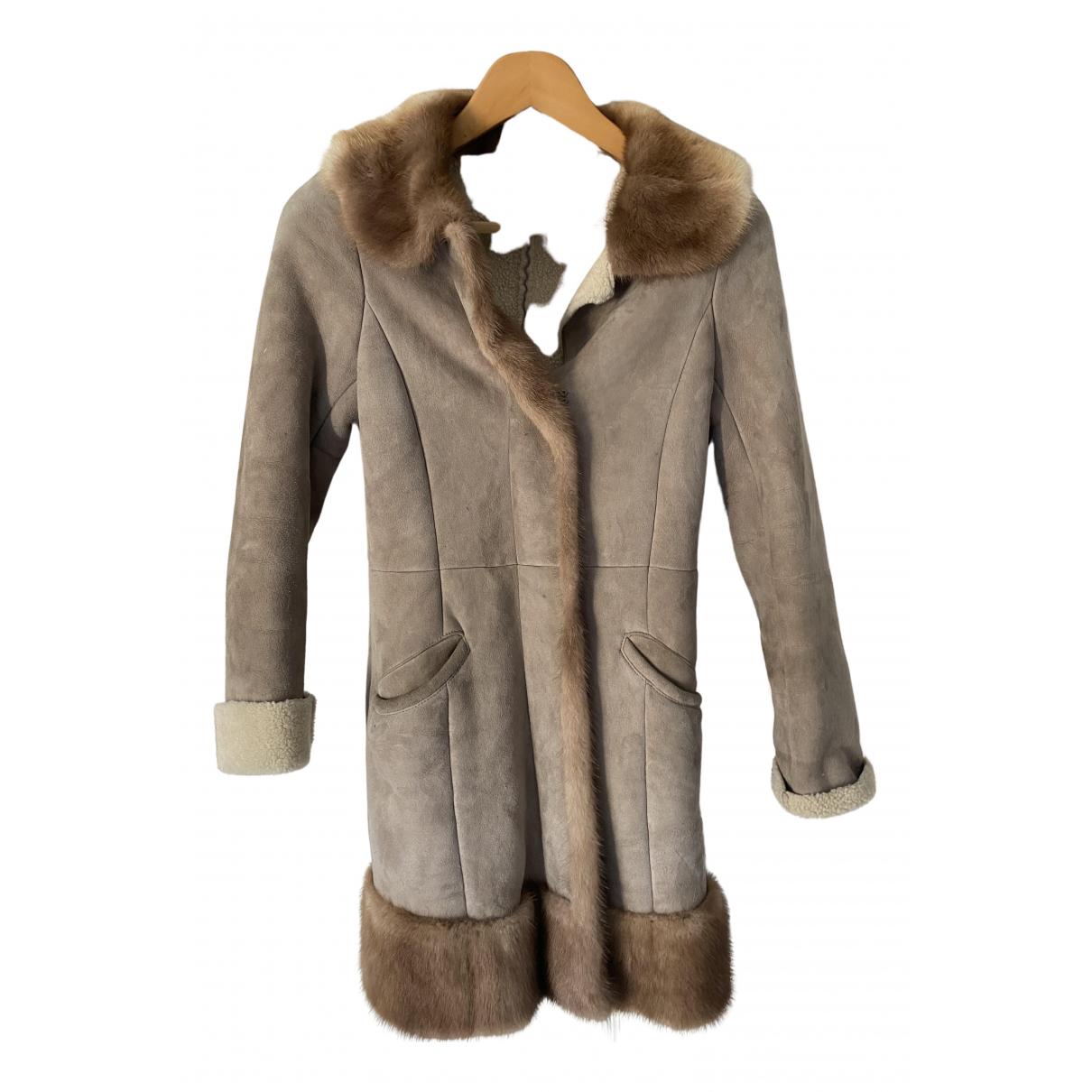 Prada - Manteau   pour femme en vison - beige