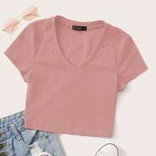 Strick Crop T-Shirt mit V-Kragen