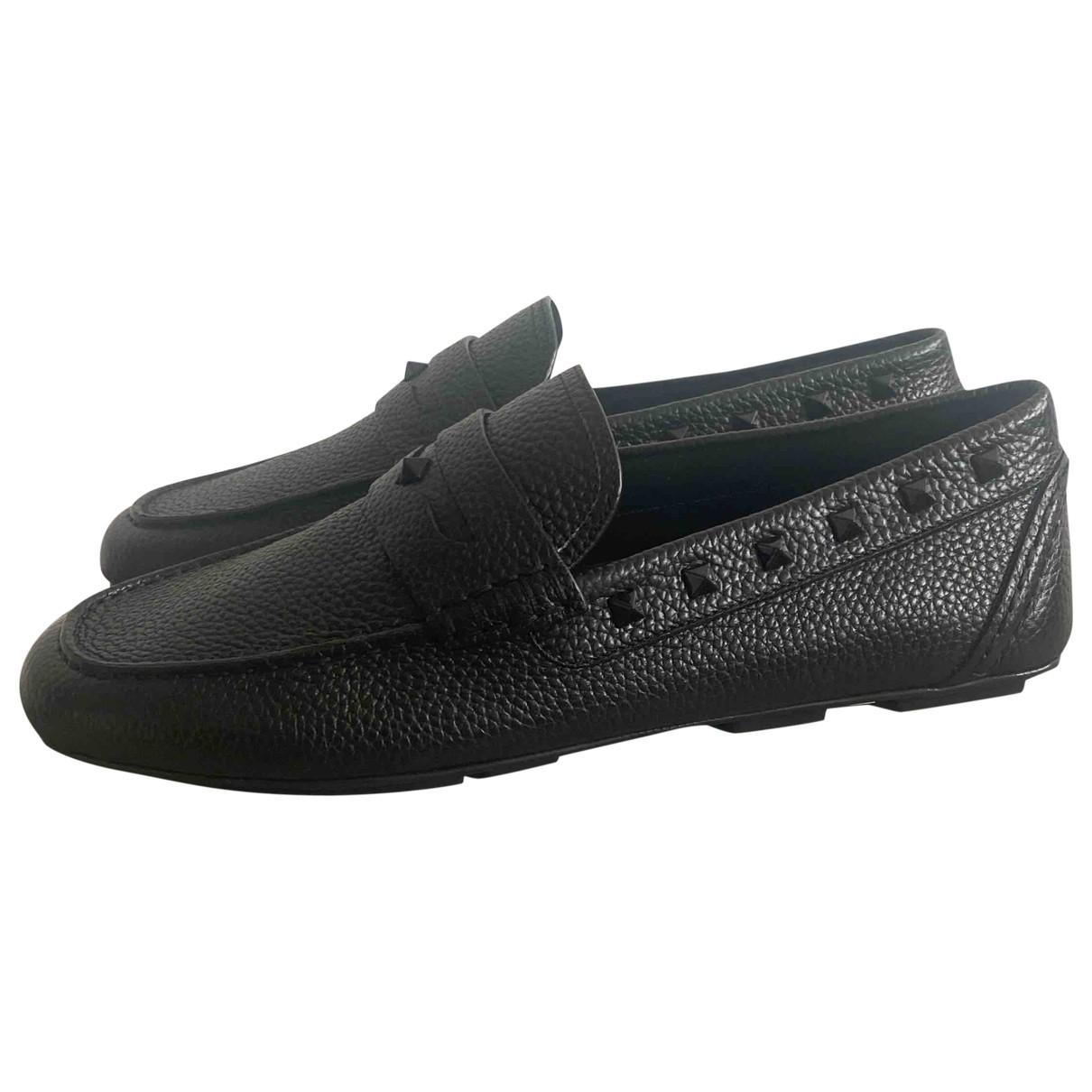 Valentino Garavani \N Black Leather Flats for Men 42.5 EU