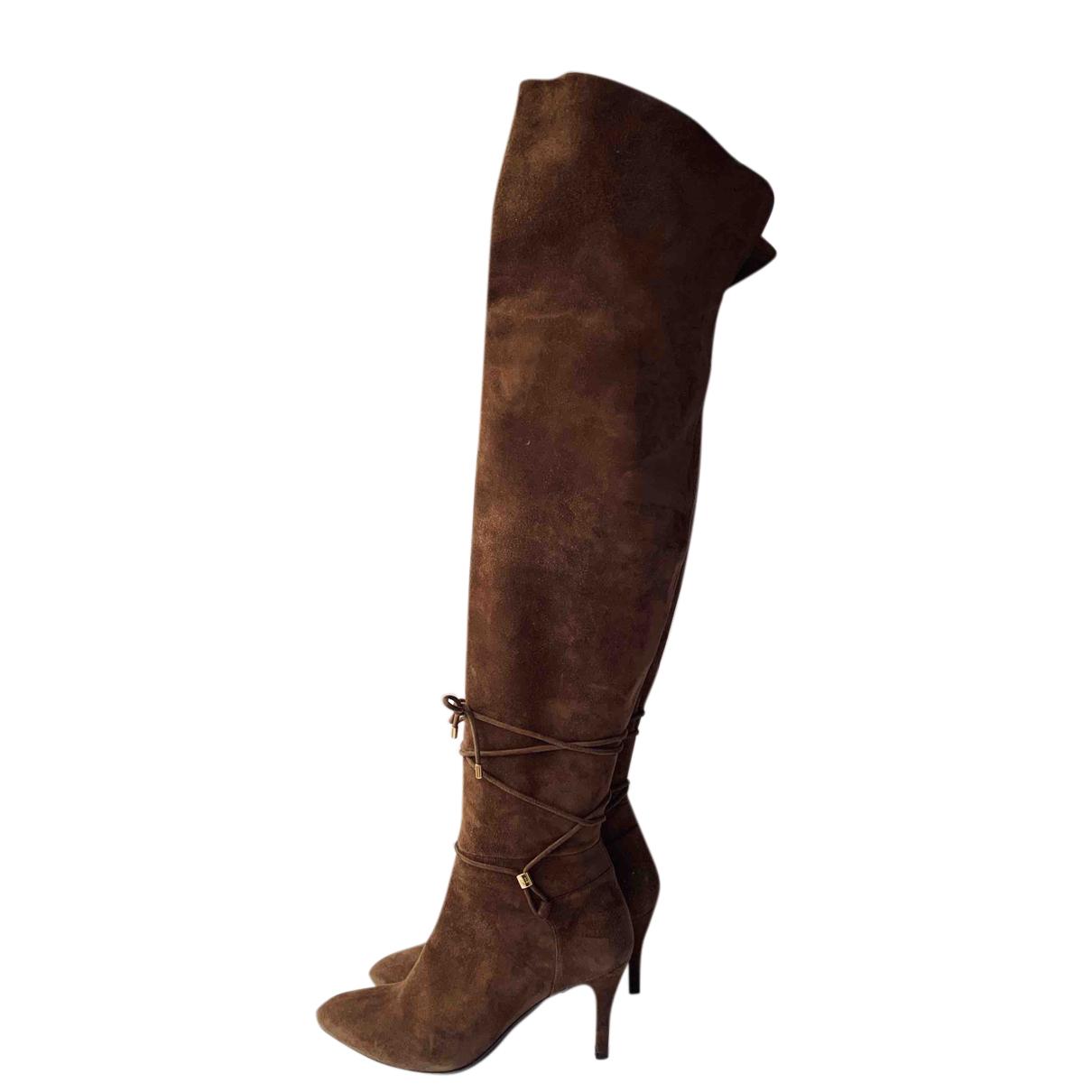 Ralph Lauren Collection - Bottes   pour femme en suede - marron
