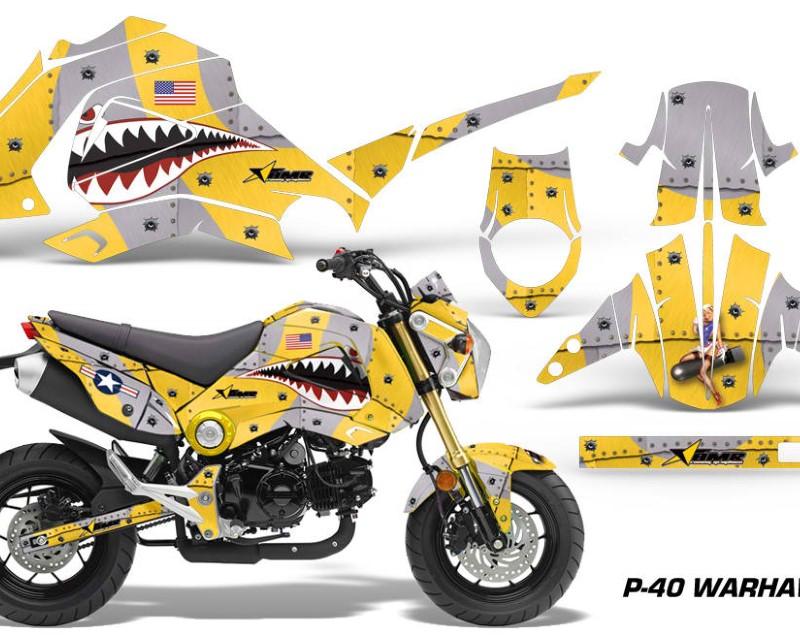 AMR Racing Motorcycle Graphics Kit Decal Sticker Wrap For Honda GROM 125 2013-2016áWARHAWK YELLOW