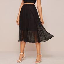 Falda de gasa de lunares de cintura elastica