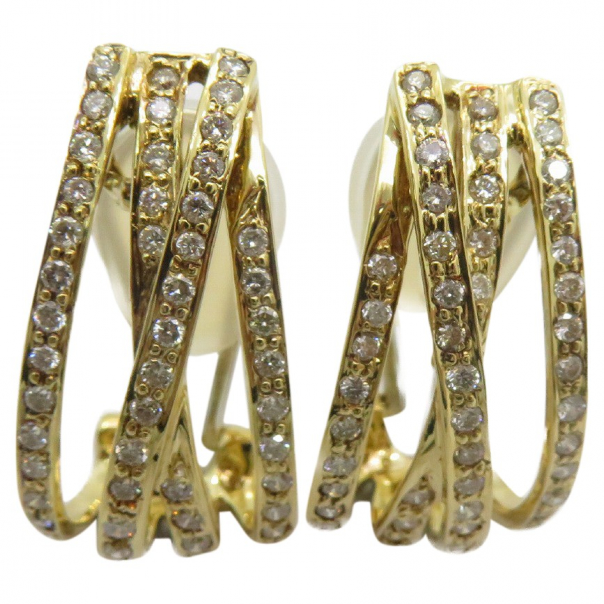 Non Signé / Unsigned Puces en diamants Gold Yellow gold Earrings for Women \N
