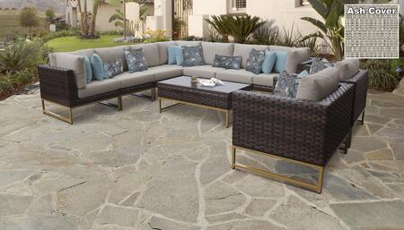 Barcelona Collection BARCELONA-10a-GLD-ASH 10-Piece Patio Set 10a with 3 Corner Chair   2 Club Chair   4 Armless Chair   1 Coffee Table - Beige and