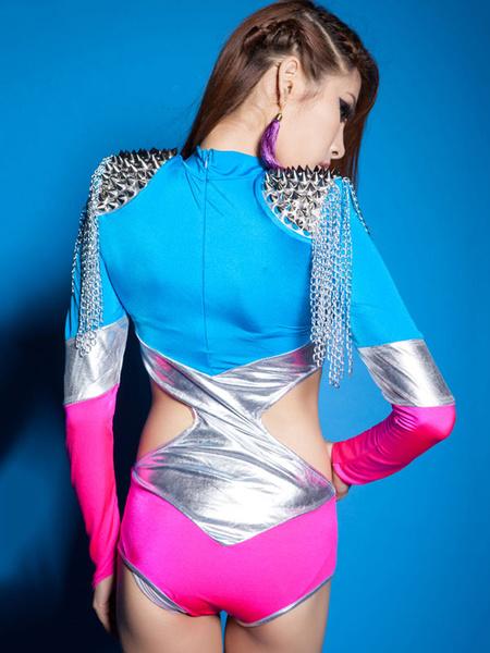 Milanoo Hip Hop Clothing Dance Costumes Multicolor Cut Out Slim Fit Dance Jumpsuit
