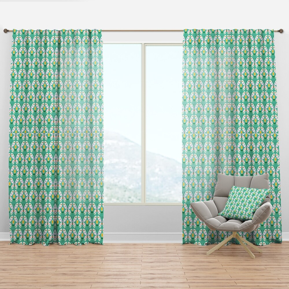 Designart 'Retro Butterflies I' Mid-Century Modern Curtain Panel (50 in. wide x 63 in. high - 1 Panel)