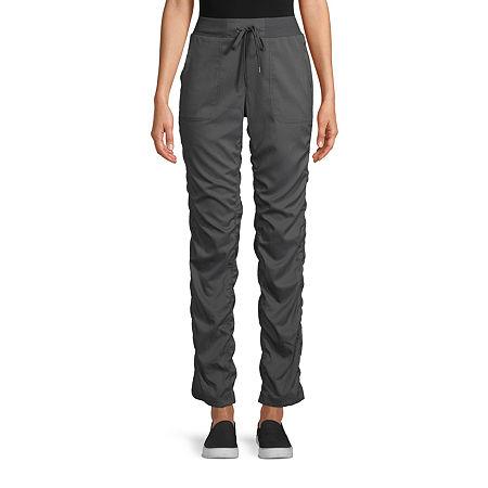 St. John's Bay Womens Mid Rise Straight Pull-On Pants, Medium , Gray
