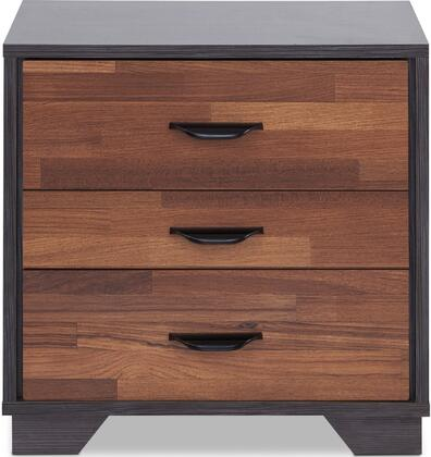 Eloy Collection 97340 20 Nightstand with 3 Drawers  Metal Hardware and Medium-Density Fiberboard (MDF) in Walnut and Espresso