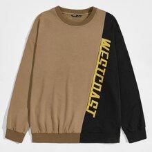Pullover mit Buchstaben Grafik, sehr tief angesetzter Schulterpartie und Farbblock