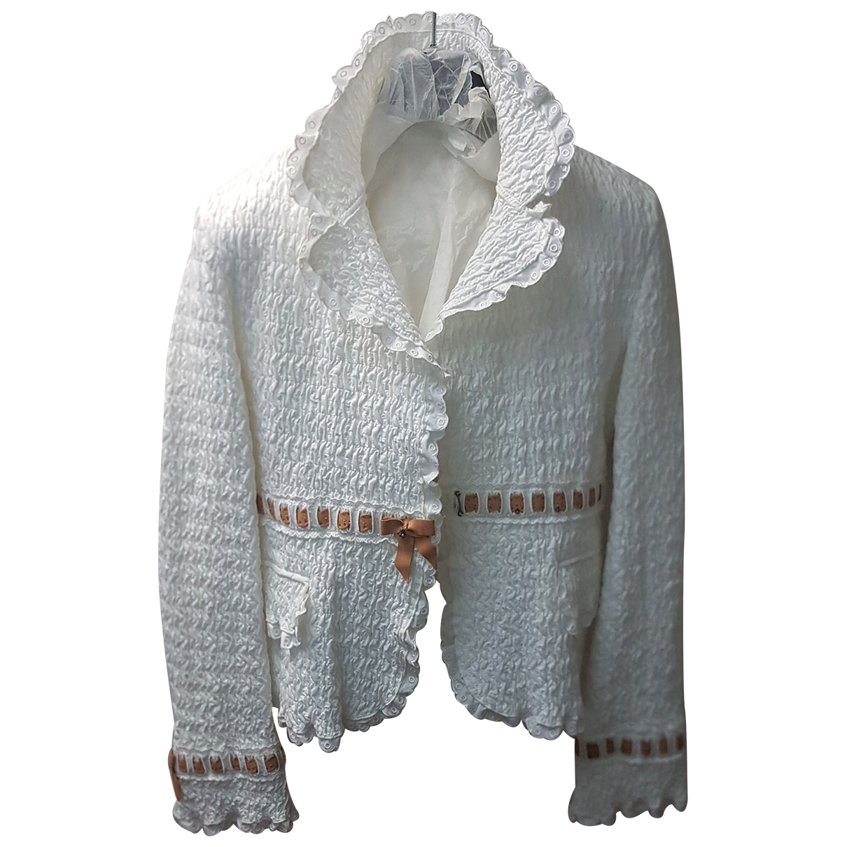 Ermanno Scervino \N White Cotton jacket for Women 42 IT
