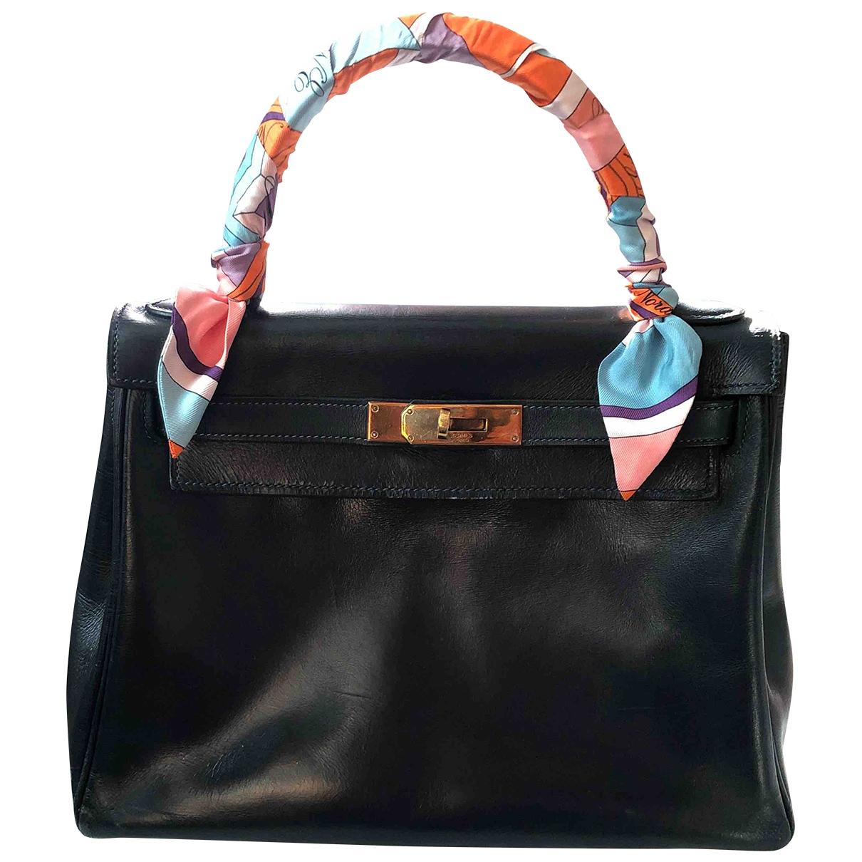 Hermès Kelly 28 Blue Leather handbag for Women \N