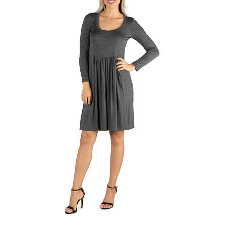 24/7 Comfort Apparel Pleated Long Sleeve Dress, X-large , Gray