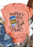 Pumpkin Spice & Jesus Christ Leopard Heart Drink T-Shirt Tee - Orange