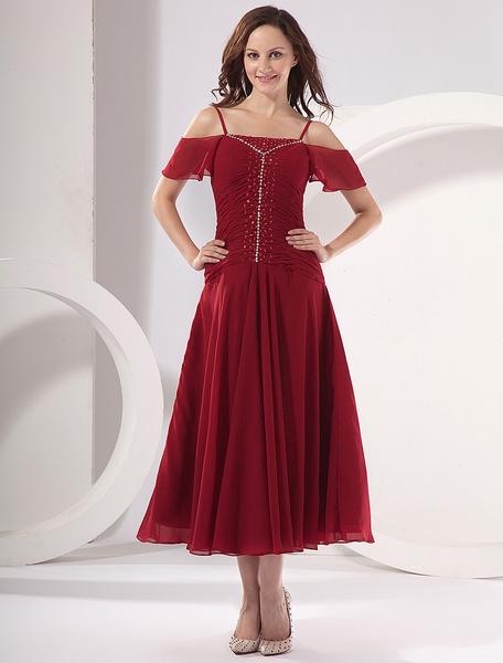 Milanoo Vestido para la mama de la novia de color borgoña de saten y de gasa de linea A hasta el tobillo