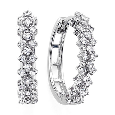 Womens Genuine Diamond 10K White Gold Double-Row Hoop Earrings, One Size , No Color Family