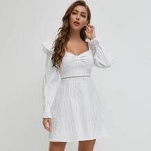 Ruffle Trim Button Front Lace Insert Dress